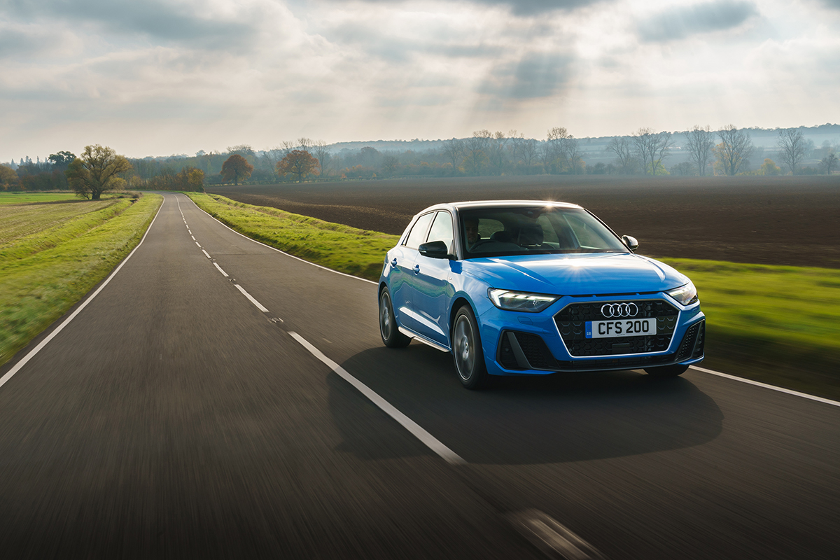 Audi are the most searched for brand this month. And this is the new Audi A1 Sportback driving on a road