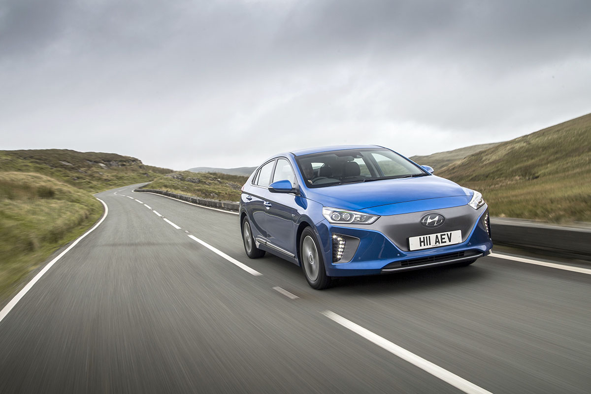 Most popular news November. The Hyundai Ioniq hybrid car driving down a road