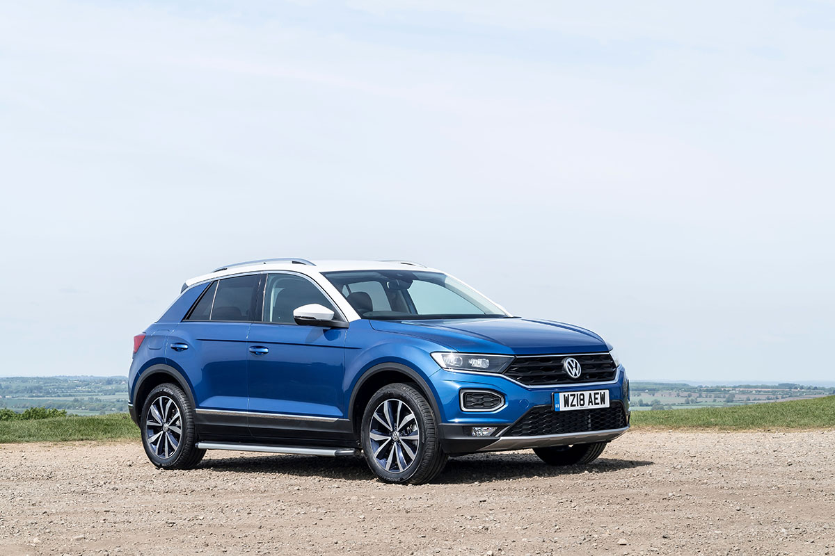 A Volkswagen T-Roc, the most popular reviewed car on a gravel road